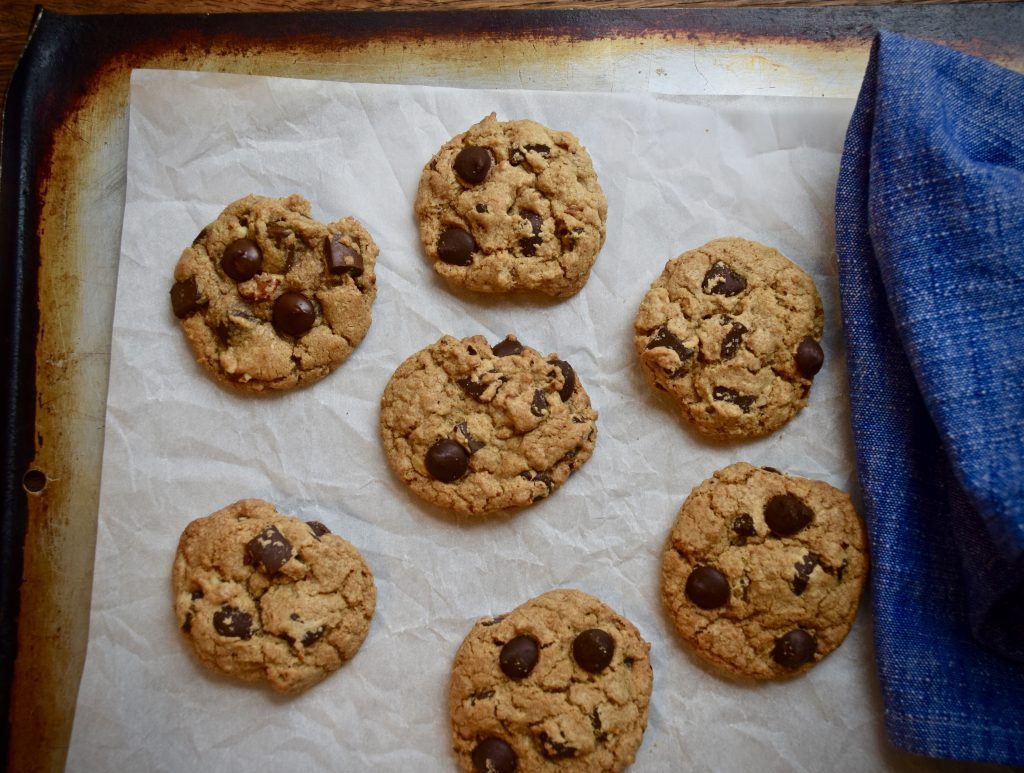 Chewy chocolate chip Cookies on a baking sheet