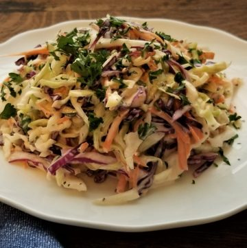 Cole slaw on plate side shot