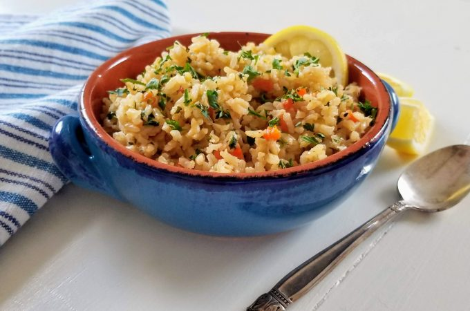 rice pilaf in blue bowl