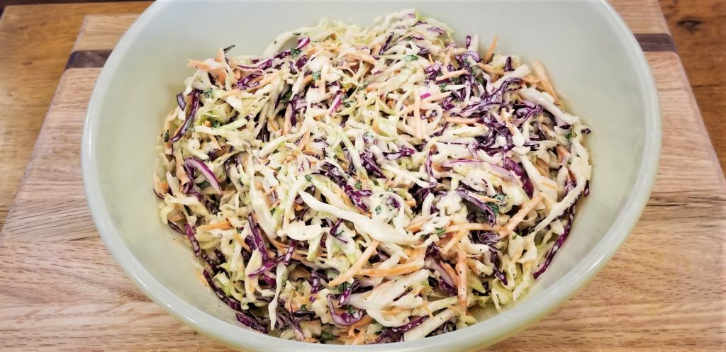 dressed cole slaw in bowl