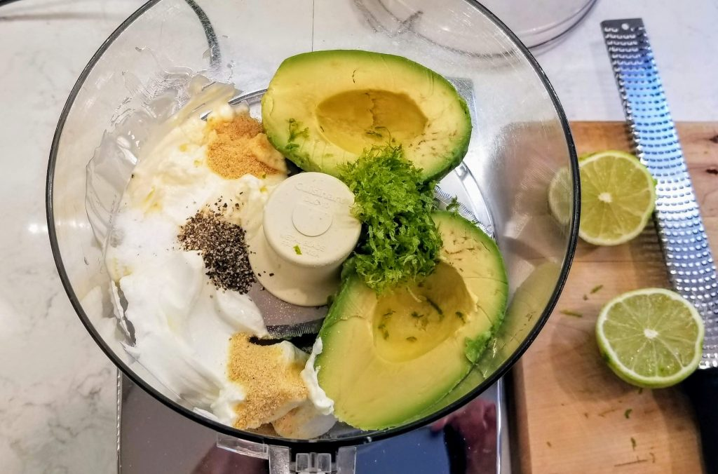 Avocado dressing ingredients ready in food processor