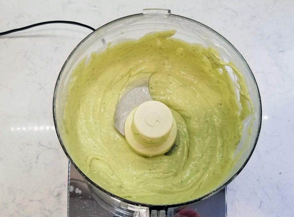 Avocado Dressing blended in food processor