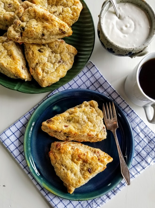 Two plates of scones