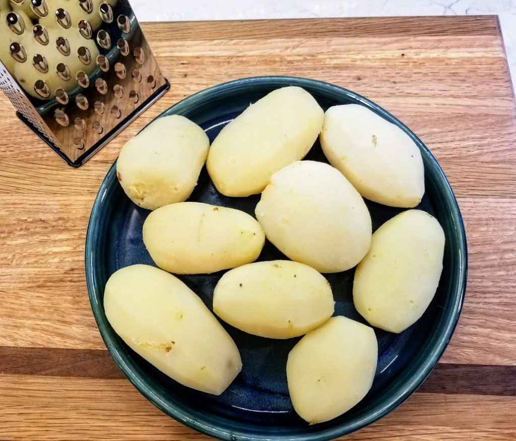 cooked, peeled russted potatoes