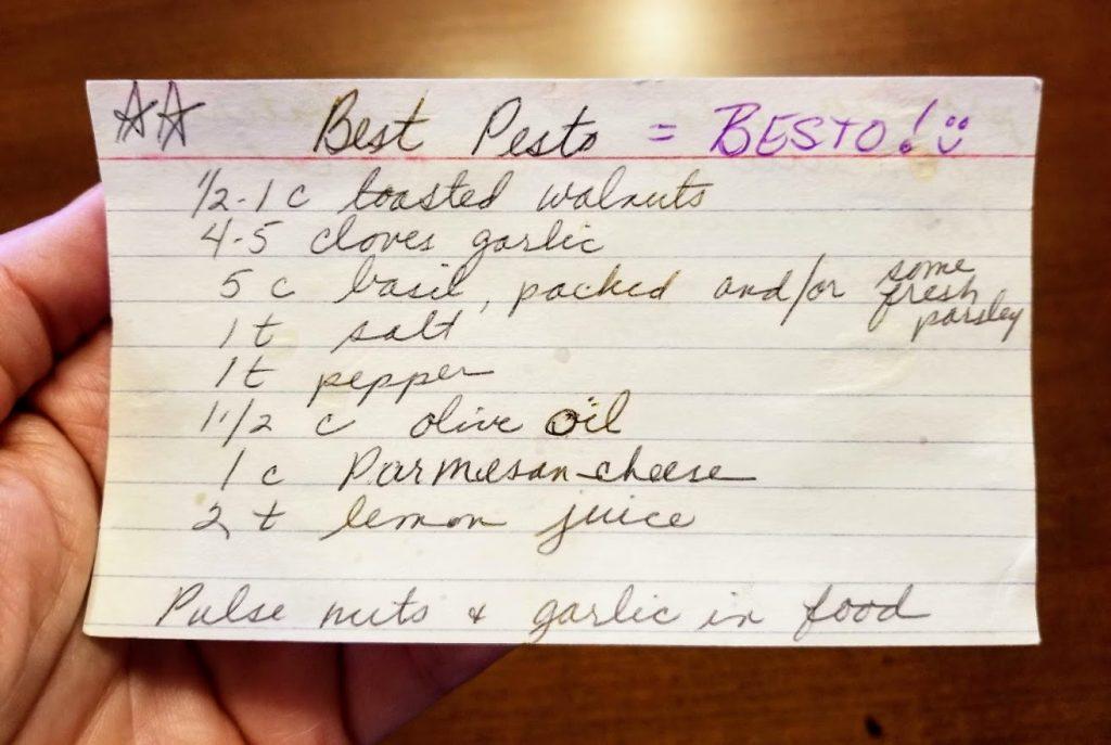 Picture of hand written pesto recipe card