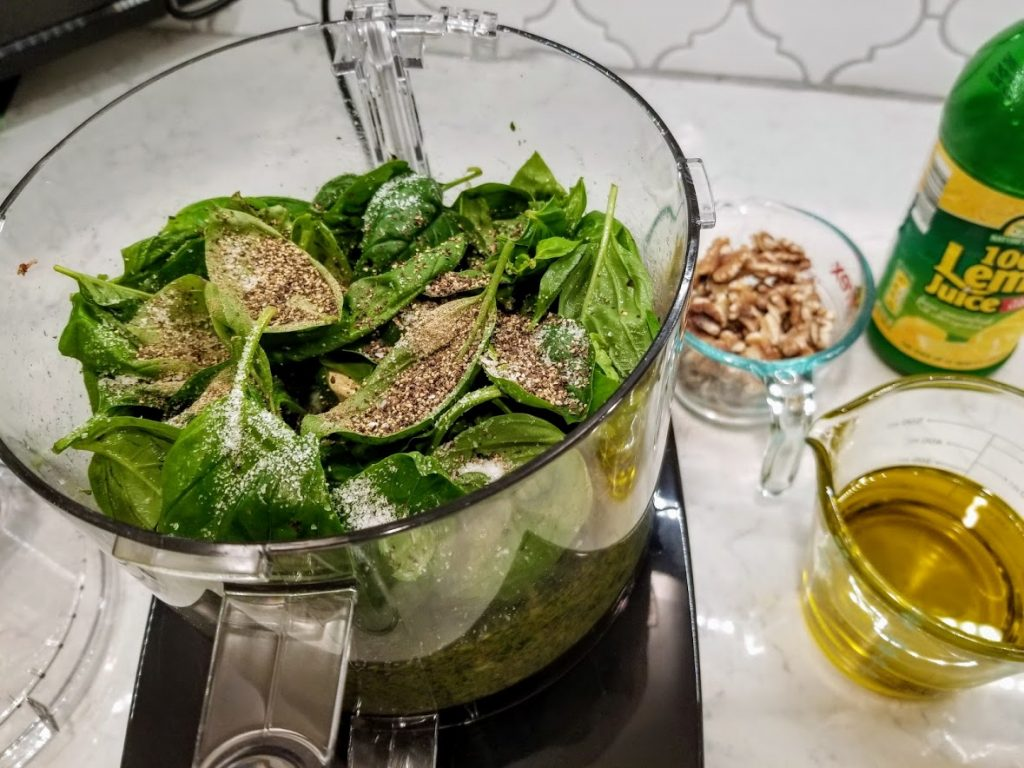 Basil and seasonings in food processor