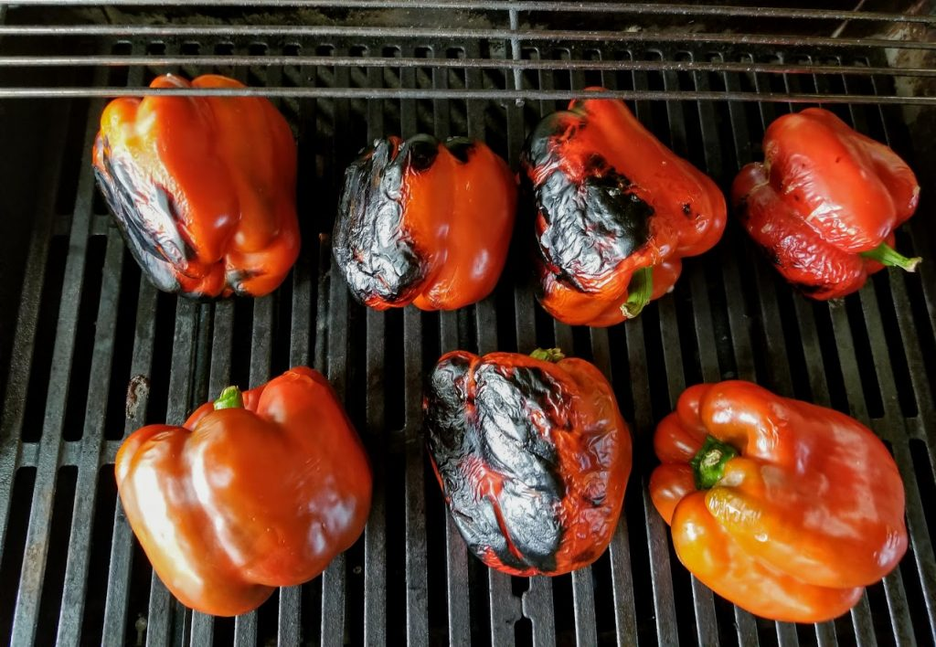 roasting peppers on a gas grill