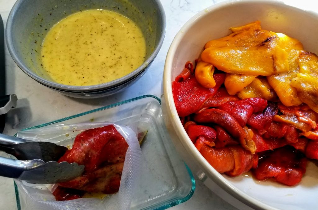 roasted peppers, vinaigrette and storage bag