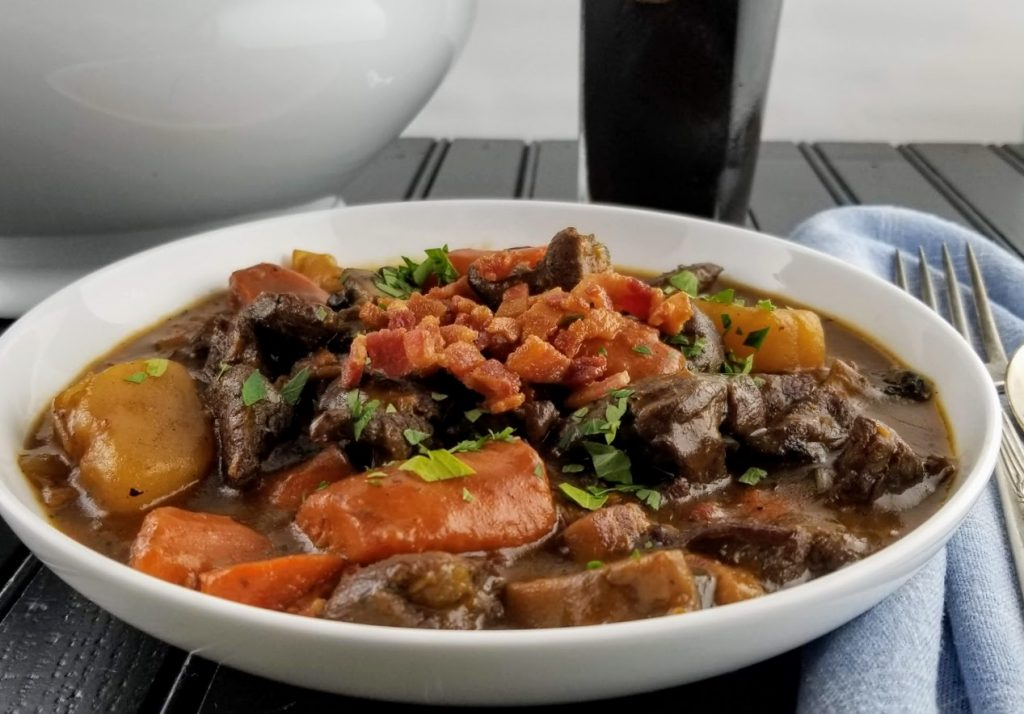 Venison stew in bowl
