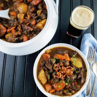 Venison and Stout Stew in a bowl and in a tureen