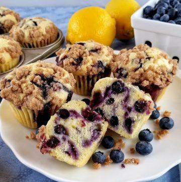 Lemony Blueberry Streusel muffins on a plates