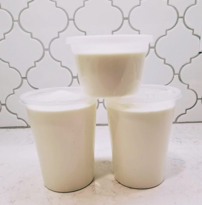 Finished containers of homemade yogurt in the instant pot