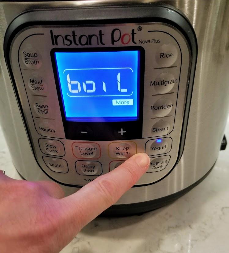 Instant Pot set to boil