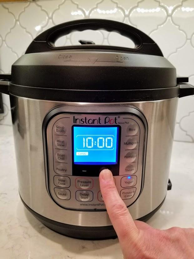 Instant Pot timer set for 10 hours